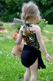 Extra Small Bathing Suit Leopard Print with Classic Black Wrap Around Swimsuit Pre Teen Swimwear