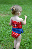 Extra Small Bathing Suit Pin Up Girl Americana Wrap Around Swimsuit Petite Girl's