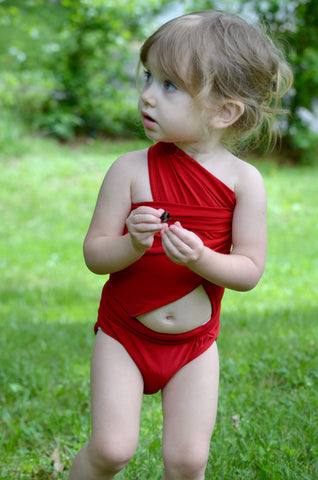 Petite Bathing Suit Extra Small Wrap-around Swimsuit Solid True Red Young Girls and Teen Swimwear