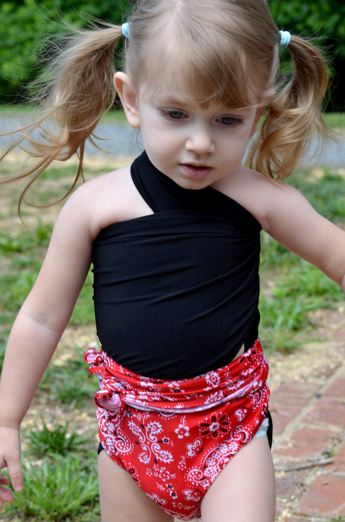 Extra Small Bathing Suit Red Bandana with Classic Black Wrap Around Swimsuit