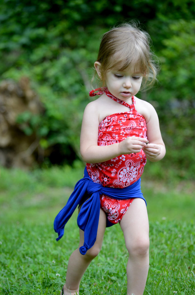 Extra Small Bathing Suit Red Bandana with Royal Blue Wrap-around Swimsuit