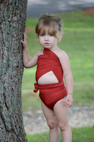 Bathing Suit XS Wrap Around Swimsuit One Wrap Terracotta Young Girls and Teen Swimwear