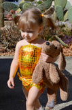 Baby Bathing Suit Metallic Yellow Crocodile Wrap Around Swimsuit Newborn, Infant and Toddler Girls - hisOpal Swimwear - 4