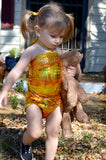 Baby Bathing Suit Metallic Yellow Crocodile Wrap Around Swimsuit Newborn, Infant and Toddler Girls - hisOpal Swimwear - 2