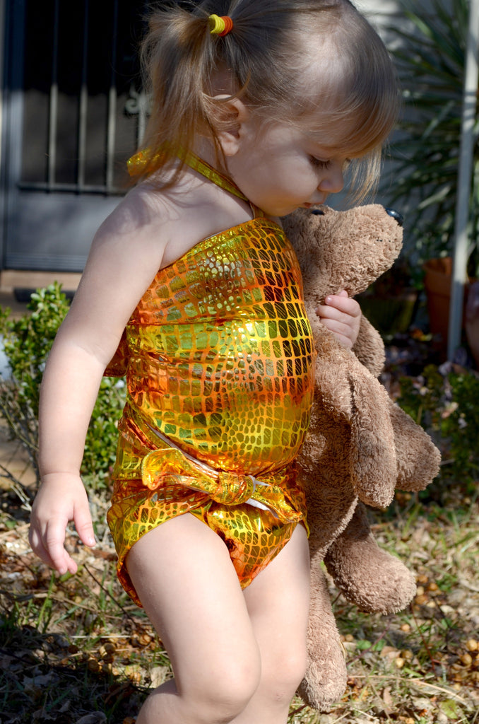 Baby Bathing Suit Metallic Yellow Crocodile Wrap Around Swimsuit Newborn, Infant and Toddler Girls - hisOpal Swimwear - 1