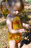 Baby Bathing Suit Metallic Yellow Crocodile Wrap Around Swimsuit Newborn, Infant and Toddler Girls - hisOpal Swimwear - 5