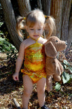 Baby Bathing Suit Metallic Yellow Crocodile Wrap Around Swimsuit Newborn, Infant and Toddler Girls - hisOpal Swimwear - 6