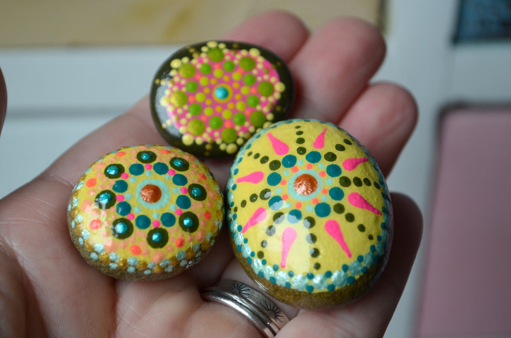 Cute Fridge Magnets, Hand Painted Rock, Yellow Mandala Magnets, 3 Refrigerator Magnets