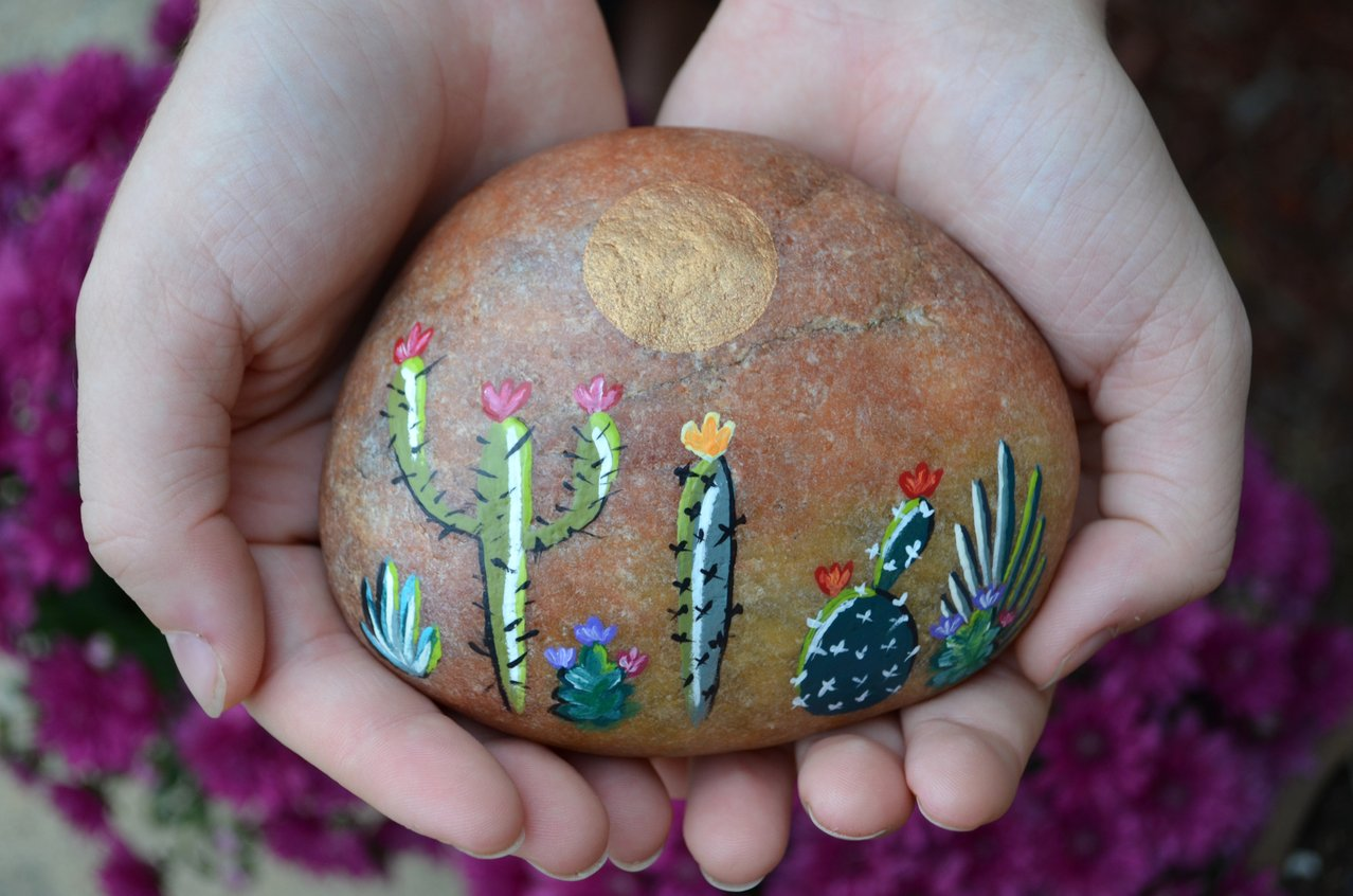cactus painted rock art