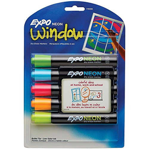 EXPO - Neon Dry Erase Marker, Bullet Tip, Assorted, 5 per Set 1752226 (DMi ST by Expo
