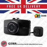 Dome G5WA Front and Rear (2ch X 1080p) Full HD Car Dash Camera with GPS - UK model