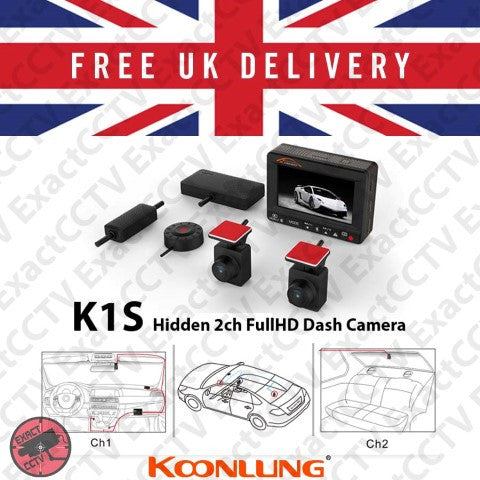 Koonlung K1S Full HD Hidden Front and Rear (2ch x 1080p) Car Dash Camera & DVR with GPS - UK and EU