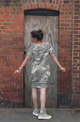wide neckline camouflage dress from soft jersey fabric