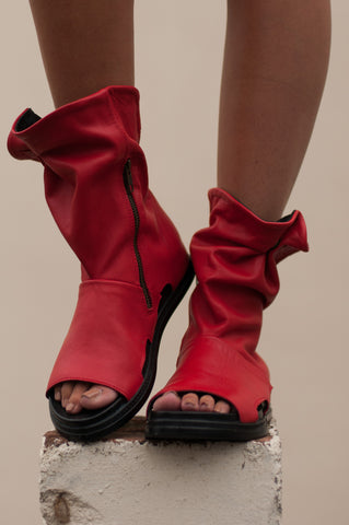 Top It Up Peep-toe Red Boots