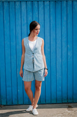 asymmetrical overlapping back vest and shorts set
