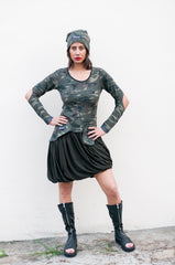 This camouflage dress is unique blend of G.I Jane and prima ballerina