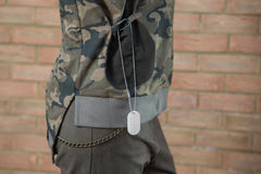 a solid pocket embellished with your very own dog-tag military top
