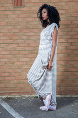 striped cotton jersey maxi dress