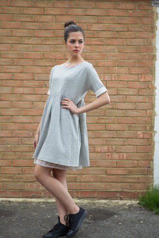 Button Me Up Light Grey Dress