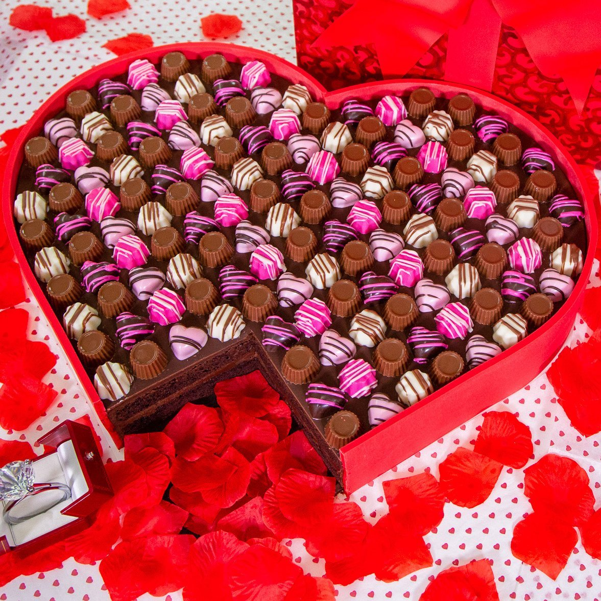 Valentine Heart Box Chocolates Cake