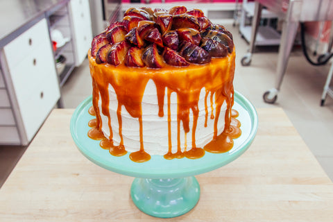 Maple Caramel Drizzled Fall Harvest Carrot Cake With Sauteed Apples