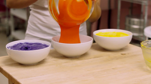 Cereal Bowl Cake How To Cake It Yolanda Gampp Bowls Purple Yellow Orange Batter