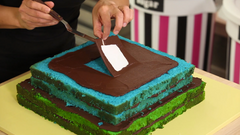 Colourful Pyramid Surprise Cake with Chocolate Ganache and Chocolate