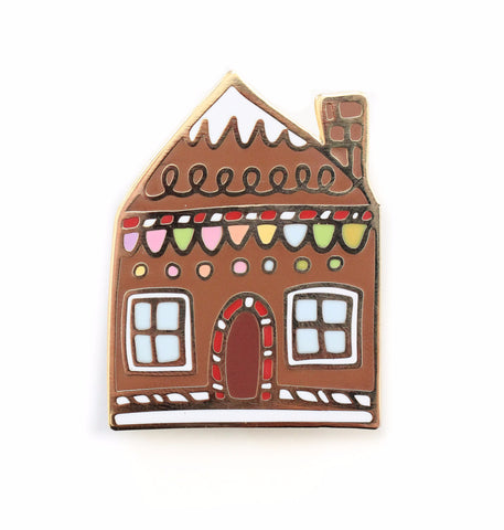 Gingerbread House Enamel Pin - Makes a great stocking stuffer!