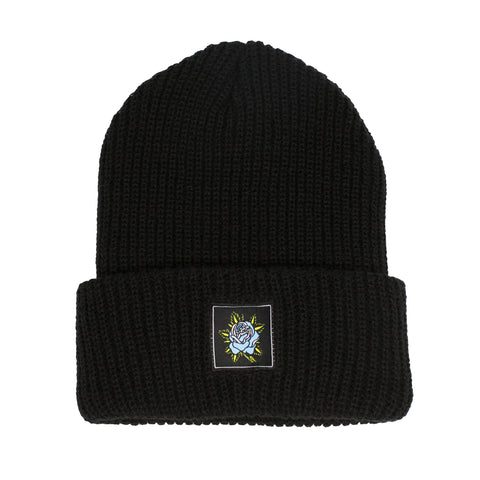 Blue Rose Beanie - Black