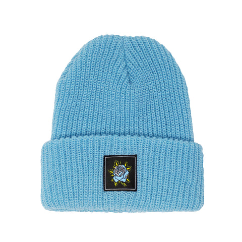 Rose Beanie - Light Blue