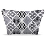 White Lace 3 Geometric Lace Printed Zip Clutch Bags