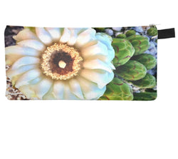 Saguaro Blossom Cosmetic Pencil Case Modern Cactus Printed Zipper Clutch Sonoran Desert Makeup Case