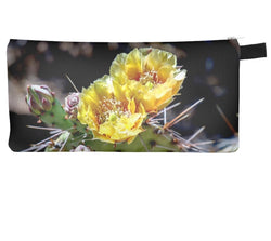 Prickly Pear Cosmetic Pencil Case Modern Cactus Printed Zipper Clutch  Sonoran Desert Makeup Case