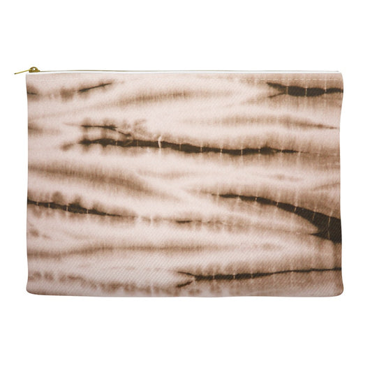 Brown Shibori Cosmetic Case Makeup Travel Clutch