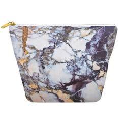 Gold Cream and Blue Marble Printed Mens Dopp Kit