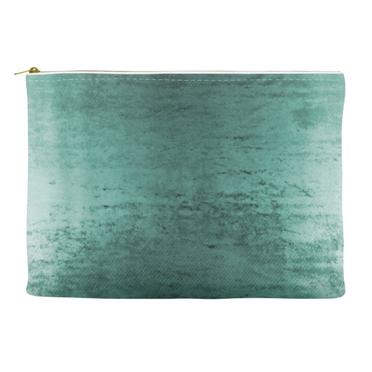 Worn Teal Velvet Makeup & Cosmetic Bag - Velvet Printed Case