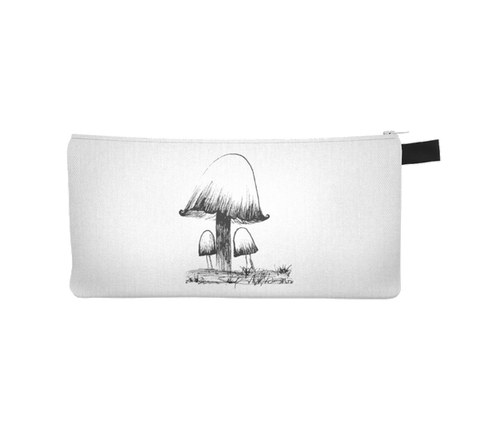 Inky Cap Mushroom Illustration Makeup Storage Case Cosmetic Pouch Pencil Case Notions Bag