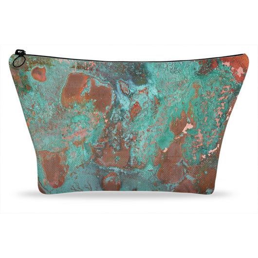 Rusted Copper Printed Metal Zip Cosmetic Purse Makeup Travel Bag
