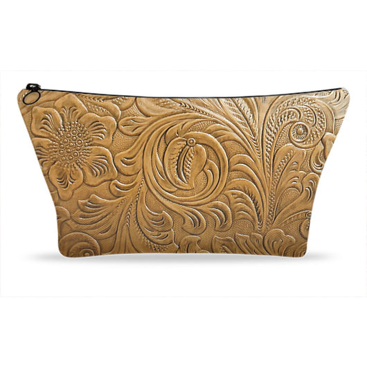 Floral Tooled Leather - Natural Printed Faux Vegan Friendly Cosmetic Zipper Clutch