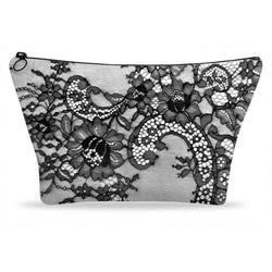 Black Lace 1 Printed Cosmetic Makeup Zip Clutch Makeup Bag