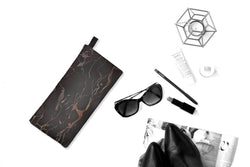 Gold & Black Marble Printed Cosmetic Zip Pouch - Makeup Bag - Marbled Pencil Case