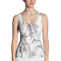 Grey Marble Tank Top Custom Printed and HandMade
