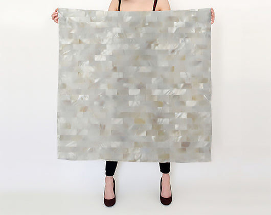 Silk Habotai Mother of Pearl Tiled Printed Scarf