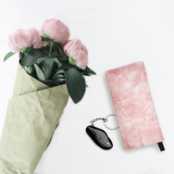Rose Quartz Crystal Print Cosmetic & Pencil Zip Case - Pink Makeup Bag