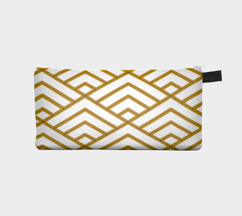 Gold & Black Sashiko Makeup Storage Case Cosmetic Pouch Pencil Case Notions Bag