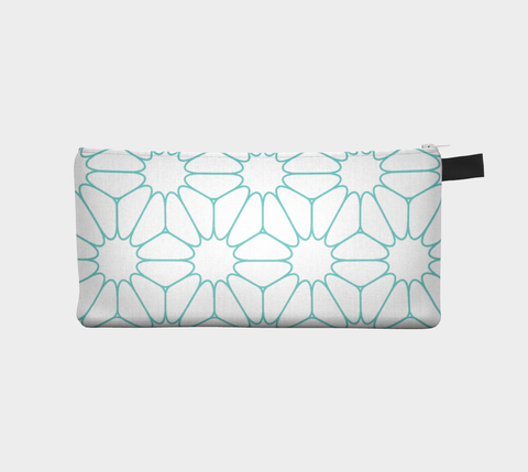 Teal Geometri - Cosmetic Pouch Pencil Case Brides Maids Gift Zip Pouch Makeup Storage Case