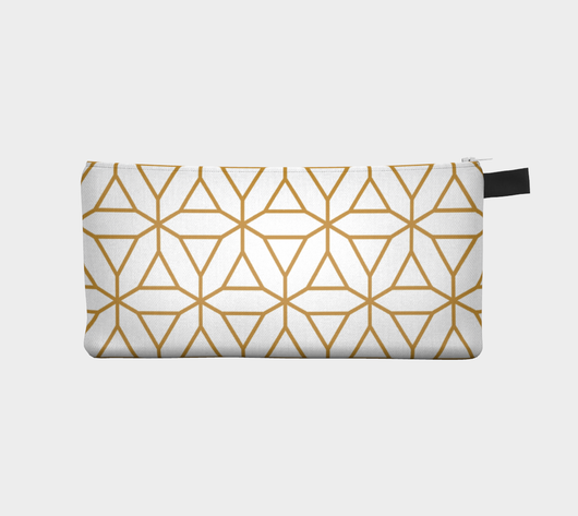 Gold Geometric Pattern 5 - Cosmetic Pouch Pencil Case Brides Maids Gift Zip Pouch Makeup Storage Case