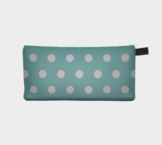 Turquoise & Grey Glass Polka Dot  - Cosmetic Pouch Pencil Case Brides Maids Gift Zip Pouch Makeup Storage Case