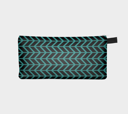 Teal & Black Zig Zag Zipper Cosmetic Case Pencil Pouch