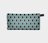 Teal Black Diamond Pencil Case Geometric Zippered Cosmetic Case